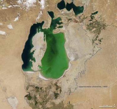 Aralsjöns utbredning år 2000. Foto: NASA Public Domain