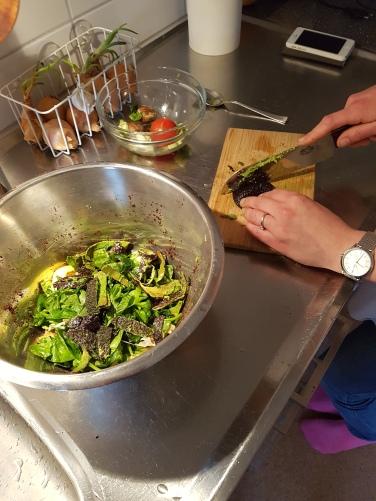 Att skära upp maten i mindre bitar påskyndar nedbrytningen